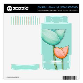 Simple Flowers teal Storm 1/2 Skin BlackBerry Decal