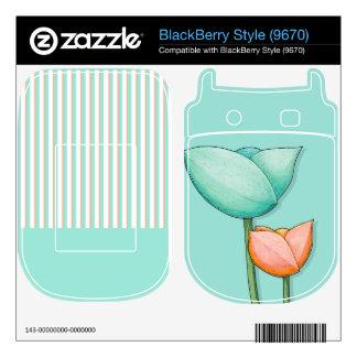 Simple Flowers teal Style (9670) Skin Skin For BlackBerry