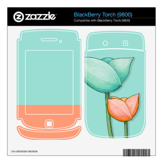 Simple Flowers teal Torch (9800) Skin BlackBerry Decal