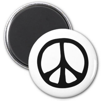 Simple Flowing Peace Sign 2 Inch Round Magnet