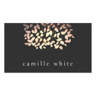Simple Foil Look Whimsical Tree Leaves Black Business Card