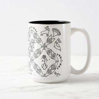 Simple Folk - Sarah Fielke Block of the Month 2018 Two-Tone Coffee Mug