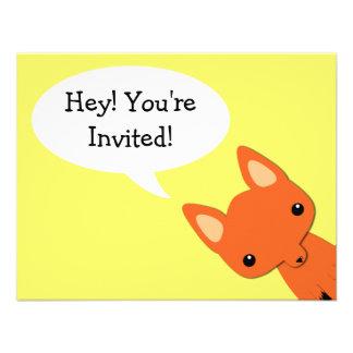 Simple Fox bear Birthday Invitation