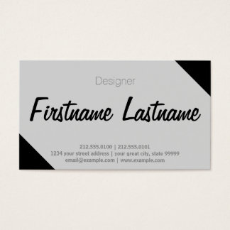 Simple Freehand Tight Font, Black Diagonal Business Card