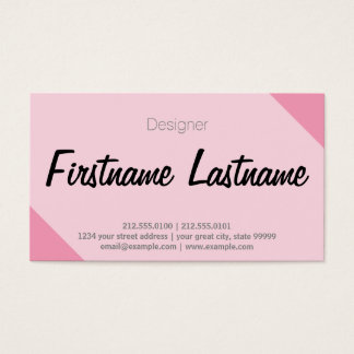 Simple Freehand Tight Font White, Pink Diagonal Business Card