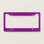 [ Thumbnail: Simple Fuchsia & Black Stripes Pattern License Plate Frame ]