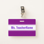 [ Thumbnail: Simple Fuchsia & Black Stripes Pattern + Name Badge ]