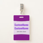 [ Thumbnail: Simple Fuchsia & Black Stripes Pattern; Name Badge ]