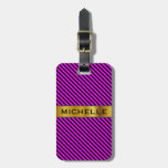 [ Thumbnail: Simple Fuchsia & Black Stripes Pattern + Name Luggage Tag ]
