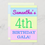 "[ Thumbnail: Simple, Fun ""4th Birthday Gala!"" Invitation ]"