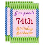 "[ Thumbnail: Simple, Fun ""74th Birthday Barbecue"" Invitation ]"