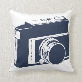 Simple Fun Blue Generic SLR Photography Camera Throw Pillow