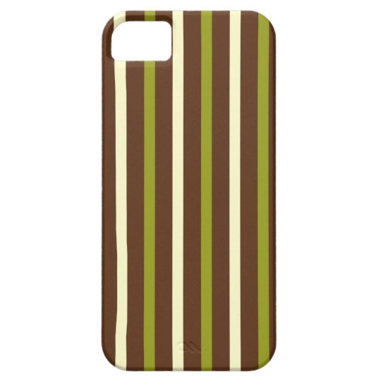 Simple & fun green & brown stripes striped pattern iPhone SE/5/5s case