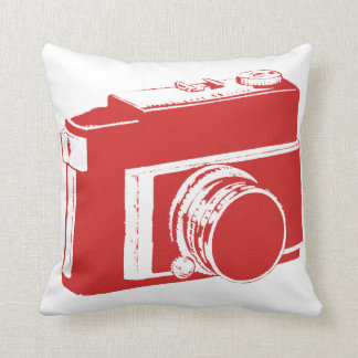 Simple Fun Red Generic SLR Photography Camera Throw Pillow