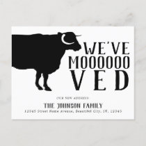 Simple Funny Cow We've Moved New Address Moving Announcement Postcard