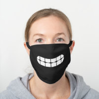 Simple Funny Smile Teeth Emoji Black Cotton Face Mask