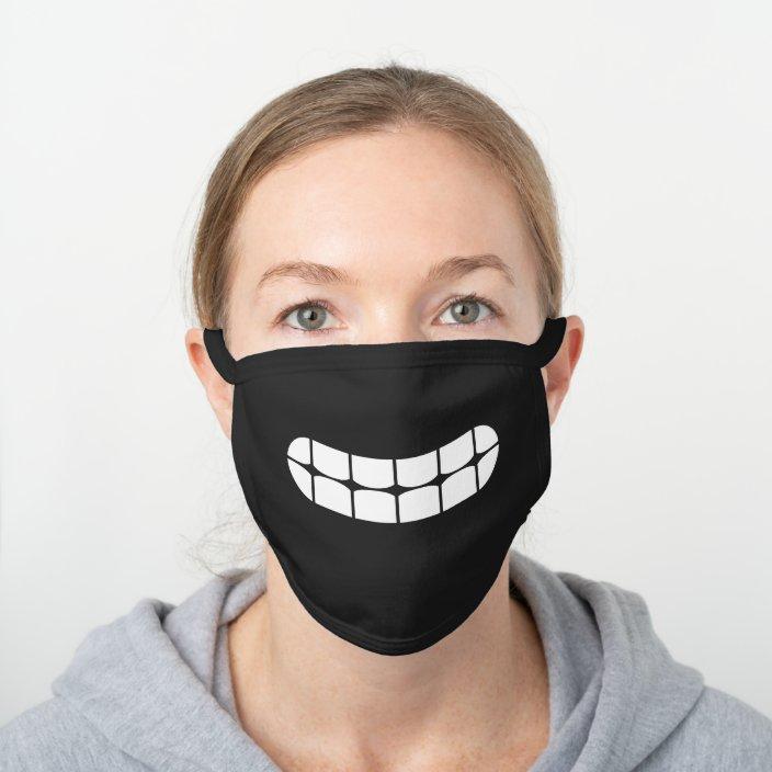Simple Funny Smile Teeth Emoji Black Cotton Face Mask Zazzle Com
