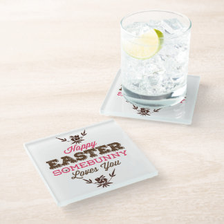 Simple Funny Text-Happy Easter Glass Coaster