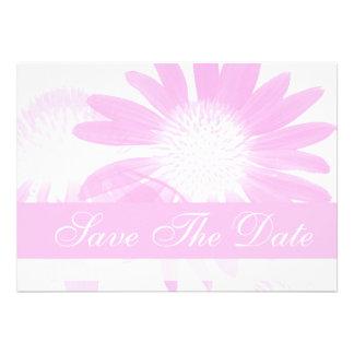 Simple Fuschia Ombre Daisy Save The Date Notice Cards