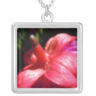 Simple fuschia square pendant necklace