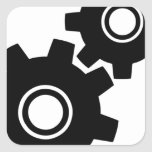 SImple Gears Cogs Square Sticker