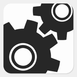 SImple Gears Cogs Square Sticker