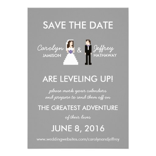Simple, Geeky 8-Bit Save the Date Invitation