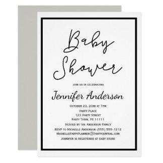 Simple Gender Neutral Black White Baby Shower Card