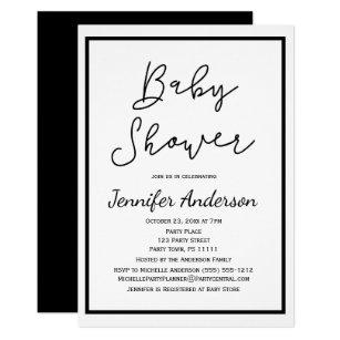 Black and white baby shower invitations zazzle simple gender neutral black white baby shower invitation filmwisefo