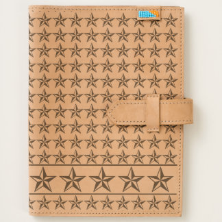 Simple geometric Repeated Stars Etched on Leather Journal