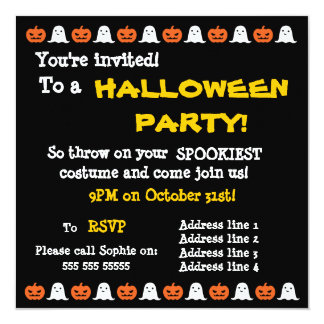 Simple Ghost and Pumpkin Halloween Invitation