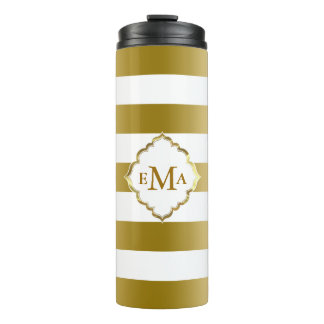 Simple Gold And White Stripes Thermal Tumbler