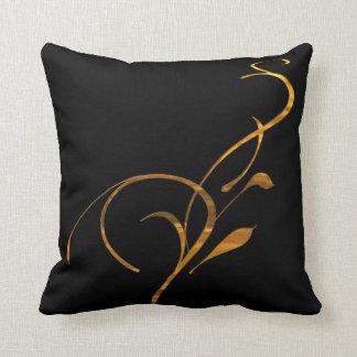 Simple Gold Black Scroll American MoJo Pillows