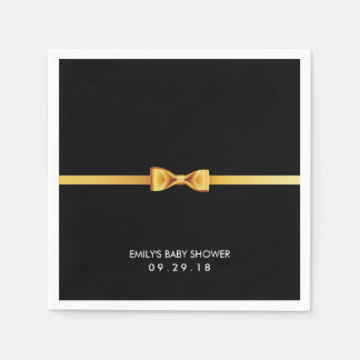 Simple Gold Bow Tie Baby Shower Napkin