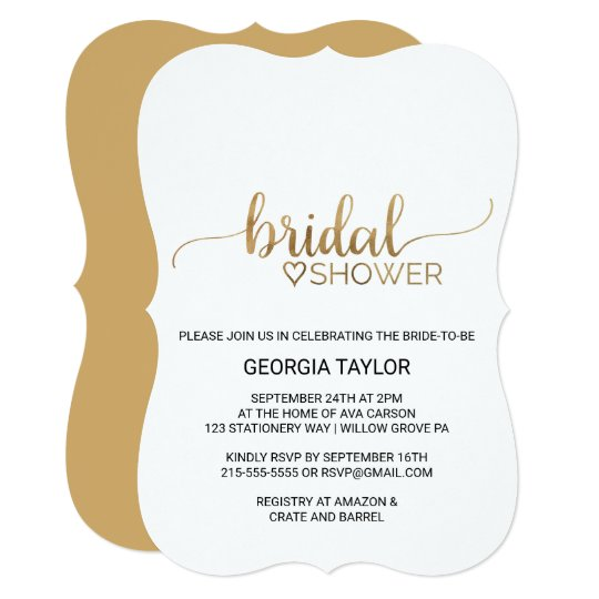 Simple gold calligraphy bridal shower invitation zazzle simple gold calligraphy bridal shower invitation filmwisefo