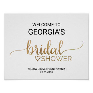 Simple Gold Calligraphy Bridal Shower Welcome Poster