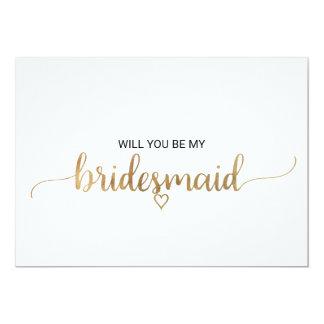 Simple Gold Calligraphy Bridesmaid Proposal Invitation