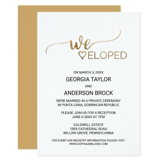Simple Gold Calligraphy Elopement Invitation Zazzle Com