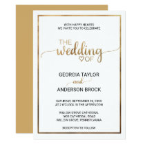 Simple Gold Calligraphy | Frame Wedding Invitation