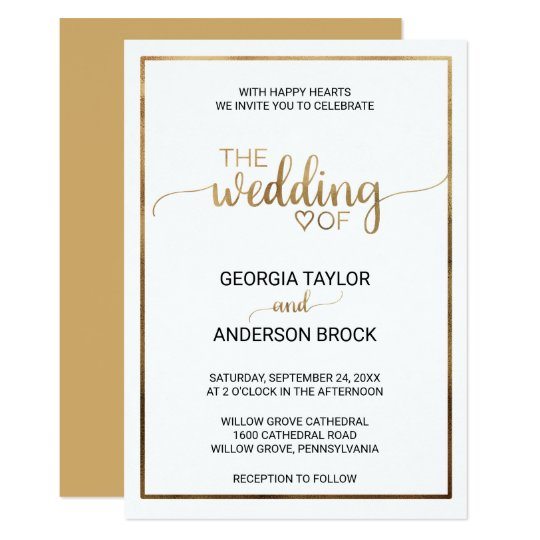 Simple Gold Calligraphy Frame Wedding Invitation Zazzlecom