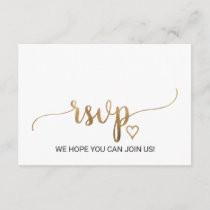 Simple Gold Calligraphy Menu Choice RSVP Card
