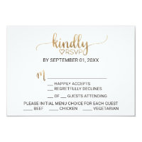 Simple Gold Calligraphy Menu Choice RSVP Invitation