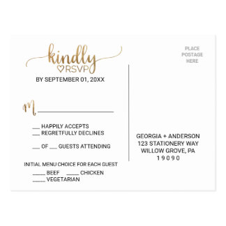 Simple Gold Calligraphy Menu Choice RSVP Postcard