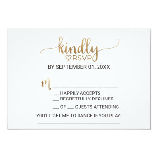 Simple Gold Calligraphy Song Request RSVP Card