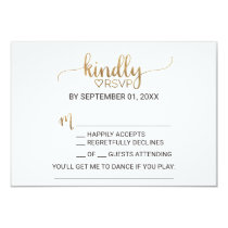 Simple Gold Calligraphy Song Request RSVP Invitation