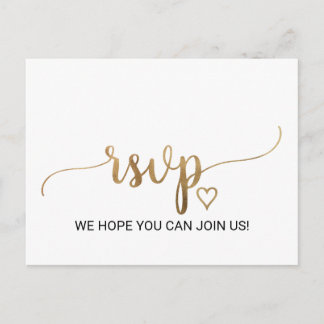 Simple Gold Calligraphy Song Request RSVP Invitation Postcard