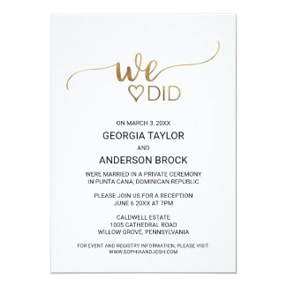 Simple Gold Calligraphy We Did Invitation