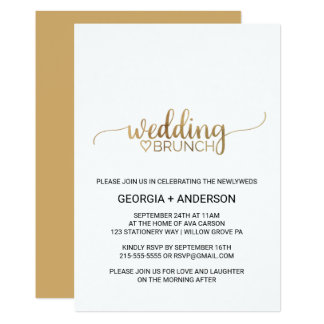 Simple Gold Calligraphy Wedding Brunch Invitation