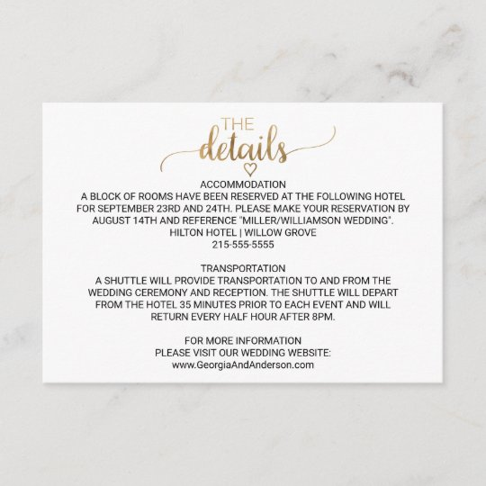 simple gold calligraphy wedding details card  zazzle