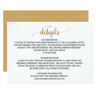Simple Gold Calligraphy Wedding Details Card